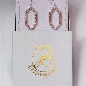 NIB jBloom Rose Gold Earrings Lined W/ Silver
